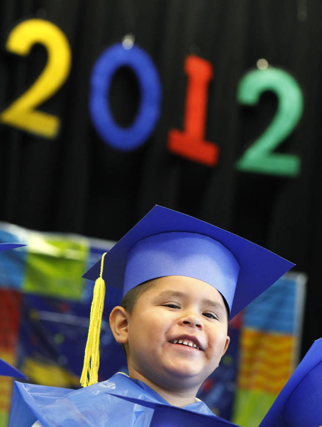 Jacoby Francis at his pre-kindergarten graduation ceremony at Pierce Elementary, Wednesday, May 30, 2012. Photo By David McDaniel/The Oklahoman