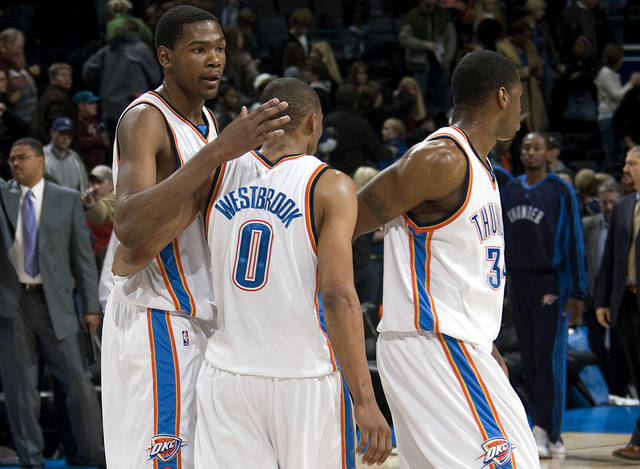 Oklahoma City's Kevin Durant, Russell Westbrook and Desmond Mason react after losing the Cleveland Cavaliers, Sunday, Dec. 21, 2008, at the Ford Center in Oklahoma City. PHOTO BY SARAH PHIPPS, THE OKLAHOMAN