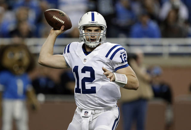 Indianapolis Colts quarterback Andrew Luck throws against the Detroit Lions in the first quarter of an NFL football game in Detroit, Sunday, Nov. 2, 2012. (AP Photo/Paul Sancya)