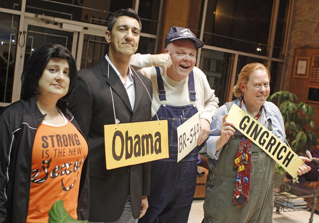 From left, Cynthia Rozmaryn, Bart Vleugels, Bill Perry, and Michael Cross will all be taking part in the annual Gridiron Show, pose Thursday, Feb. 16, 2012.  Photo by Doug Hoke, The Oklahoman