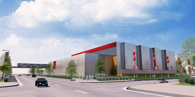 This artist's rendering provided by 360 Architects via the Chicago Bulls shows the proposed new practice facility the Bulls plan to build near the United Center on Chicago's West Side. The team and Chicago Mayor Rahm Emanuel's office announced details of the plan in a release Friday, Nov. 16, 2012. The Bulls have practiced at the Berto Center in the Chicago suburb of Deerfield since 1992. The new 55,000-square-foot facility will be built in what's now Parking Lot J, just east of the United Center. The project will be funded completely by the Bulls and is scheduled to be completed in time for the 2014-2015 season. (AP Photo/Courtesy of 360 Architects via the Chicago Bulls)