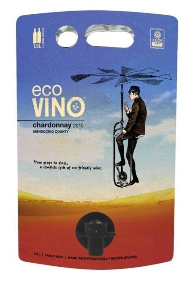 EcoVINO, a Tulsa company, uses this unique packaging for its wine. PHOTO PROVIDED