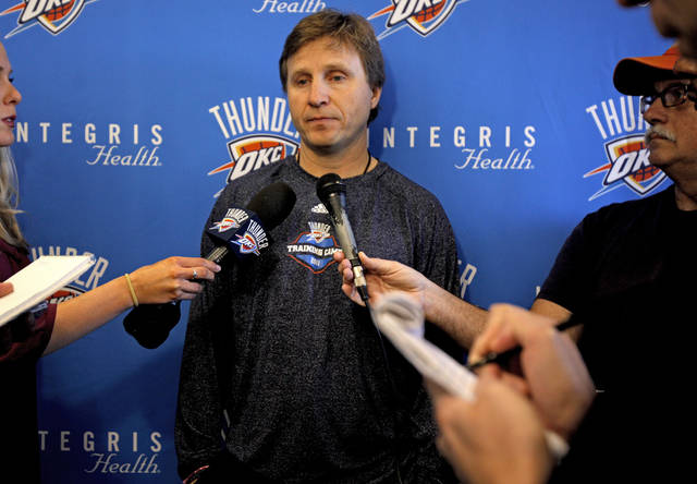 OKLAHOMA CITY THUNDER NBA BASKETBALL: Oklahoma City coach Scott Brooks talks after practice at the Thunder's new practice facility Saturday, Dec. 10, 2011. Photo by Bryan Terry, The Oklahoman ORG XMIT: KOD