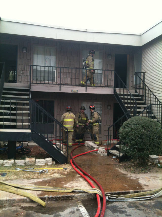 Firefighters respond to a fire at the Chandelaque Apartment Homes on Friday, December 14, 2012 in Oklahoma City. Photo by Robert Medley, The Oklahoman. 