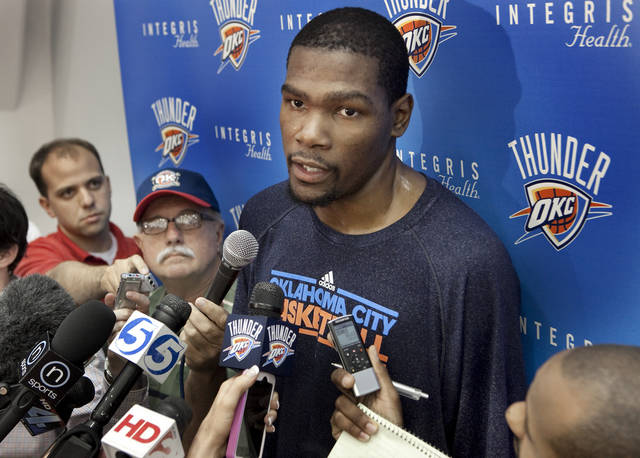 Kevin Durant speaks with the media after practice at the Oklahoma City Thunder practice facility on Friday, April 27, 2012, in Oklahoma City, Okla.  Photo by Steve Sisney, The Oklahoman