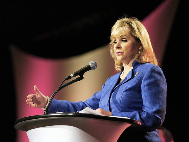 Gov. Mary Fallin addresses the Tulsa Chamber at the Tulsa Convention Center on Tuesday. Photo by MATT BARNARD, Tulsa World