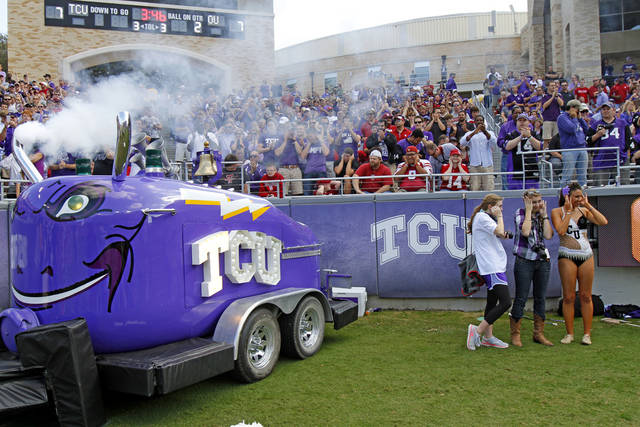 The TCU Frog Horn blows after a TCU score during a college football game between the University of Oklahoma Sooners (OU) and the Texas Christian University Horned Frogs (TCU) at Amon G. Carter Stadium in Fort Worth, Texas, Saturday, Dec. 1, 2012. Oklahoma won 24-17. Photo by Bryan Terry, The Oklahoman