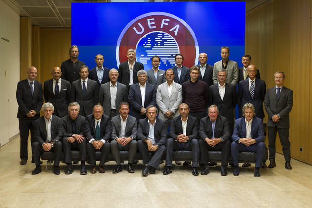 Europe's top soccer coaches pose for photographers; Third row form left, Juergen Klopp, of Borussia Dortmund, Leonard Jardim, of Olympiacos FC, Arsene Wenger, of Arsenal FC, Vitor Pereira, of FC Porto, Unai Emery, of FC Spartak Moskova ,Thomas Schaaf, of SV Werder Bremen, Kasper Hjulmand, of FC Nordsjaelland, and UEFA technical director Andy Roxburgh. Second row form left, UEFA General Secretary Gianni Infantino, Luciano Spalletti, of FC Zenit St Petersburg, Massimiliano Allegri, of Milan AC, Rene Girard, of Montpellier Herault SC, Mircea Lucescu, of FC Shakhtar Donesk, Frank de Boer, of AFC Ajax, Tito Vilanova, of FC Barcelona, Jose Mourinho, of Real Madrid CF, UEFA's chief refereeing officer Pierluigi Collina and UEFA Competitions Director Giorgio Marchetti. First row form left, Ivan Jovanivic, of Apoel FC , Carlo Ancelotti, of Paris Saint Germain, Fati Terim, of Galatasaray AS, Diego Simeone, Club Athletico de Madrid, UEFA President Michel Platini, Roberto Di Matteo, of Chelsea FC, Gerard Houiller, FFF Technical director, Jorge Jesus, of SL Benfica , during the 14th Elite Coaches Forum at the UEFA Headquarters in Nyon, Switzerland, Wednesday, Sept. 5, 2012. (AP Photo/Keystone/Salvatore Di Nolfi)