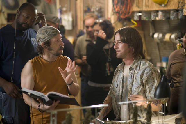 "Tim Blake Nelson, left, and Edward Norton the set of ""Leaves of Grass."""
