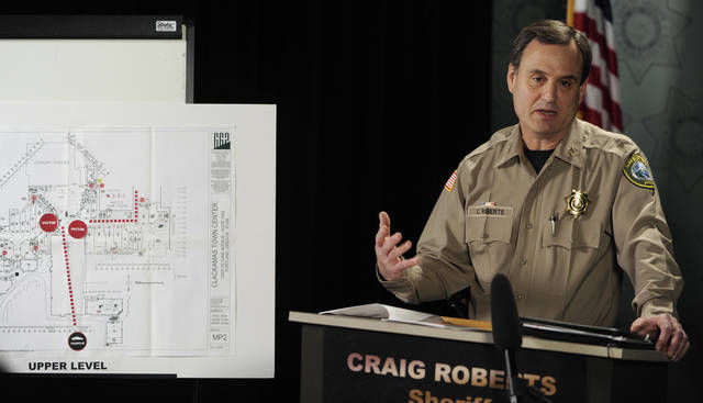 Clackamas County Sherriff Craig Roberts speaks at a press conference  Wednesday Dec. 12, 2012, about the multiple shooting Tuesday at Clackamas Town Center Mall in Portland, Ore.  Jacob Tyler Roberts killed two people and himself in the shooting rampage.  (AP Photo/Greg Wahl-Stephens)