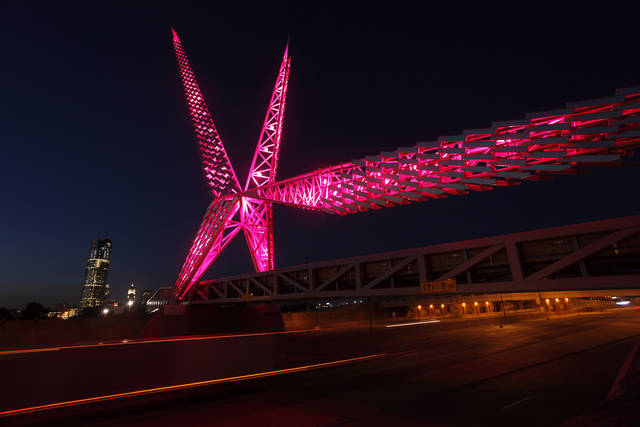 The Skydance Bridge lighting shown Monday, April 21, 2012. Photo by Doug Hoke, The Oklahoman