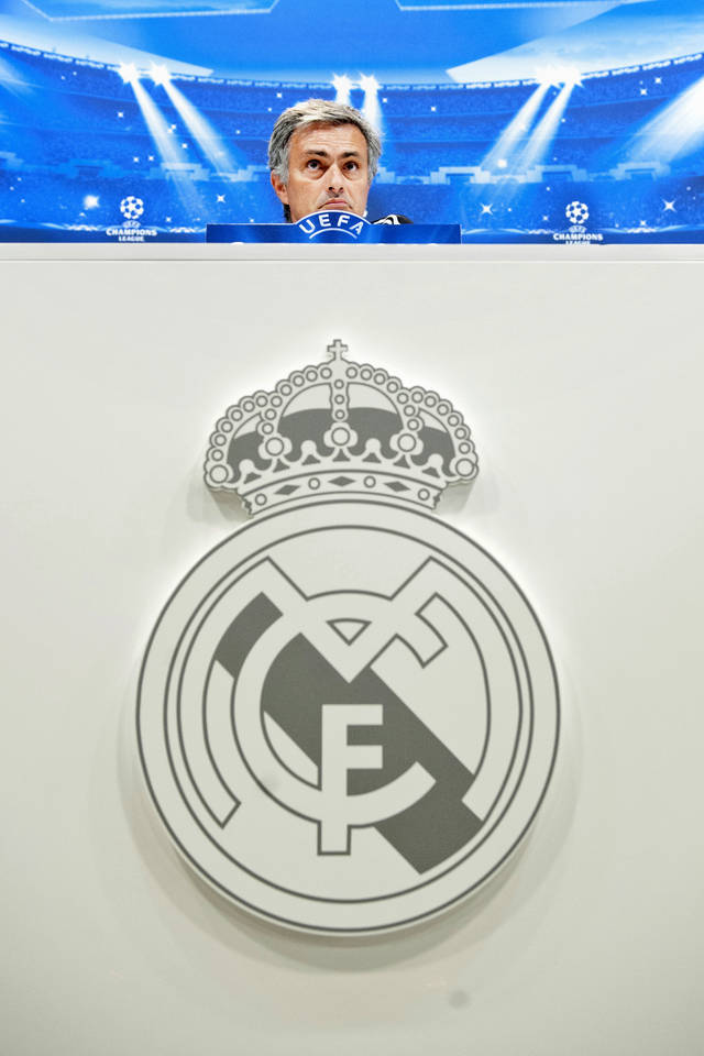 Real Madrid's coach Jose Mourinho from Portugal speaks during a press conference before a training session at the Valdebebas stadium on the eve of a Champions League Group D soccer match against Manchester City, in Madrid, Monday, Sept. 17, 2012. (AP Photo/Daniel Ochoa De Olza)