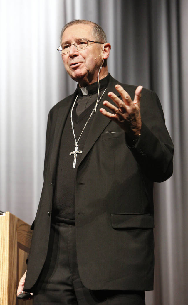 Cardinal Roger Mahony speaking to students at Bishop McGuinness High School in Oklahoma City Wednesday, Nov. 7, 2012. Cardinal Mahony was in town for the 100 anniversary of Catholic Charities for the Archdiocese of Oklahoma City. Photo by Paul B. Southerland, The Oklahoman