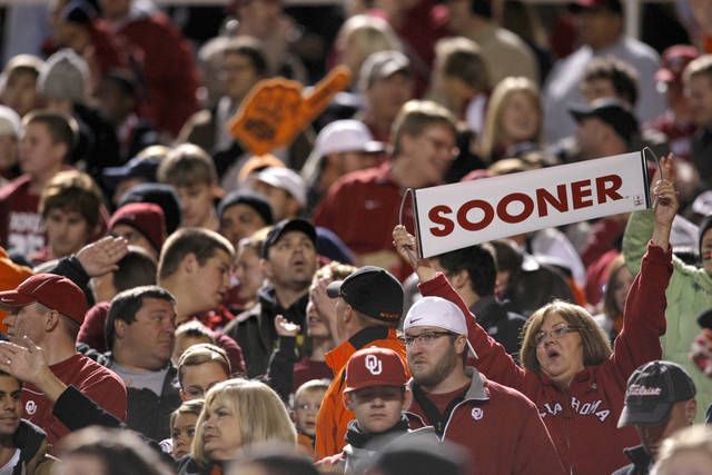 Oklahoma fans celebrate during the Bedlam college football game between the University of Oklahoma Sooners (OU) and the Oklahoma State University Cowboys (OSU) at Boone Pickens Stadium in Stillwater, Okla., Saturday, Nov. 27, 2010. Photo by Bryan Terry, The Oklahoman
