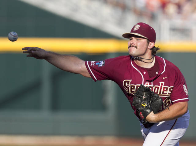 Florida State starting pitcher Scott Sitz delivers against UCLA in the first inning of an NCAA College World Series elimination baseball game in Omaha, Neb., Tuesday, June 19, 2012. (AP Photo/Nati Harnik)