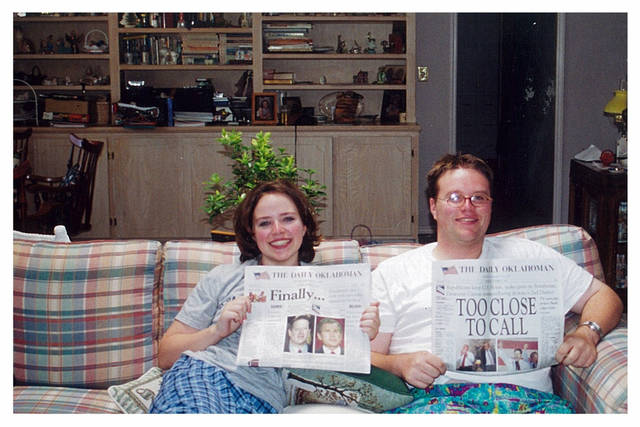 The 2000 election didn't have a clear winner. Miriam LoPresto and her brother Tony weren't photographed that year until after candidate Al Gore conceded defeat more than a month after the votes were cast. Miriam was 17; Tony was 21. <strong> - Provided</strong>