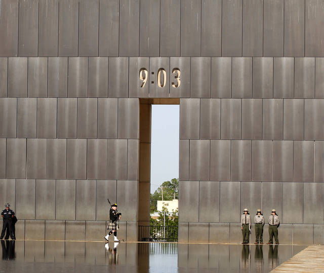 Bagpiper Kevin M. Donnelly during the 17th annual Remembrance Ceremony at the Oklahoma City National Memorial and Museum, in Oklahoma City, Thursday, April 19, 2012.  .AP FILE Photo/Sue Ogrocki