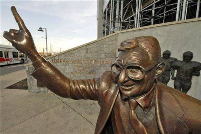 This is a statue of former Penn State University head football coach Joe Paterno outside Beaver Stadium on campus Monday, Dec. 12, 2011 in State College, Pa., Monday, Dec. 12, 2011. (AP Photo/Gene J. Puskar)