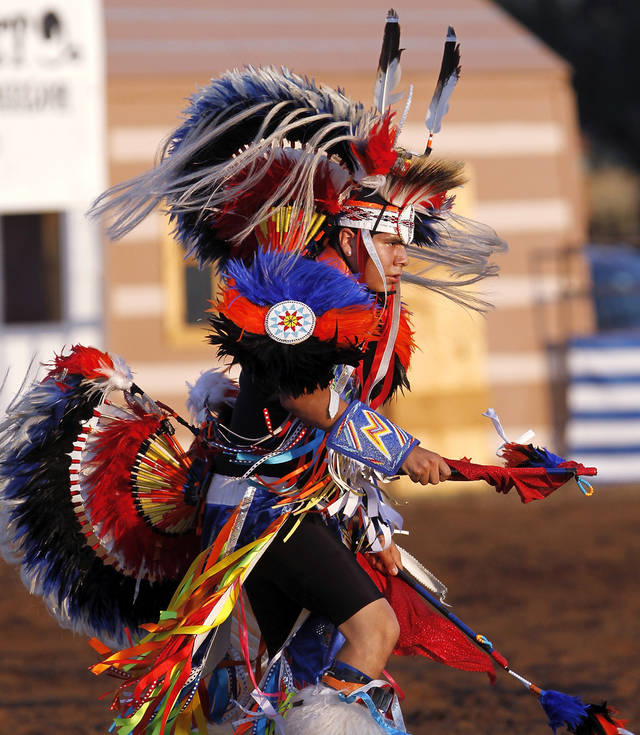 A Pawnee Nation dancer performs at the Pawnee Bill Wild West Show in Pawnee, Oklahoma on Saturday,  June 23, 2012.  Photo by Jim Beckel, The Oklahoman