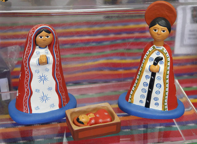 This Nativity scene from Peru is one of the items for sale at  Pambe Ghana Market. Photo By David McDaniel, The Oklahoman. <strong>David McDaniel - The Oklahoman</strong>