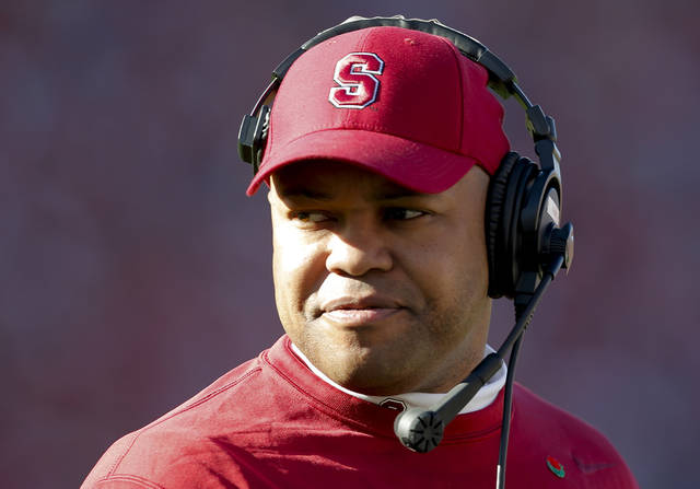 Stanford head coach David Shaw watches from the sideline during the first half of the Rose Bowl NCAA college football game against Wisconsin, Tuesday, Jan. 1, 2013, in Pasadena, Calif. (AP Photo/Jae C. Hong)