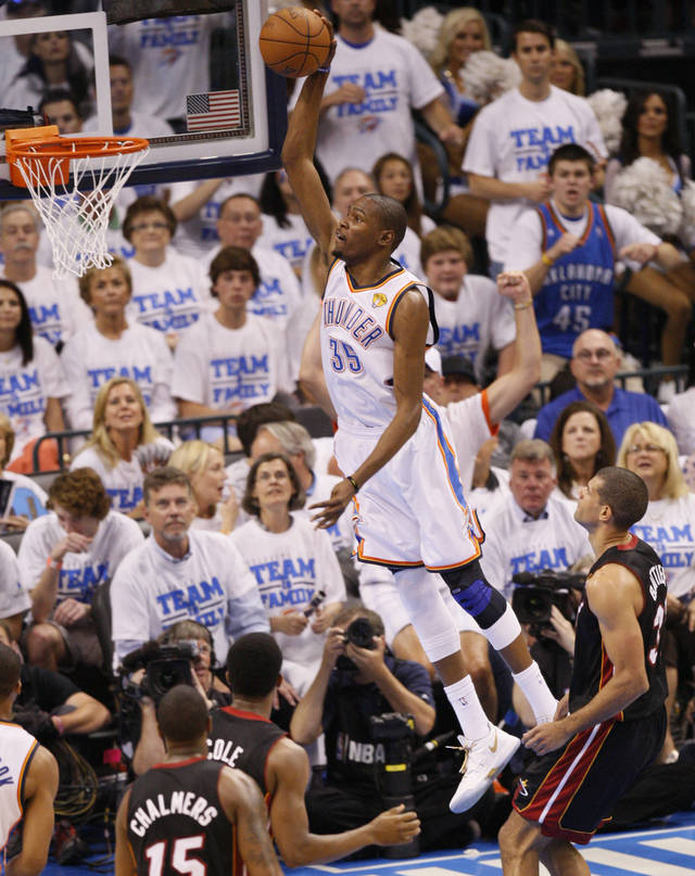 Oklahoma City's Kevin Durant (35) goes up for a dunk during Game 2 of the NBA Finals between the Oklahoma City Thunder and the Miami Heat at Chesapeake Energy Arena in Oklahoma City, Thursday, June 14, 2012. Photo by Nate Billings, The Oklahoman