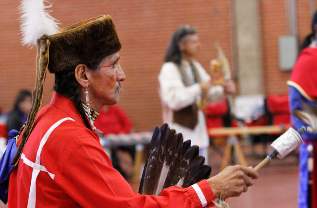 Steve Kaudlekaule  performs in a gourd dance.  He is a member of the Comanche Nation and drove from  Ponca City to attend the pow-wow.At least 500 people representing several dozen Native American Nations within the state attended  a New Year's pow-wow in the Centennial Building at State Fair Park Saturday , January 7, 2012,   The celebration started around shortly after noon and continued into the night.   Several hundred took part in the various dancers and the dancers wore tribal regalia.  Photo by Jim Beckel, The Oklahoman
