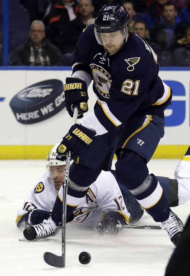 St. Louis Blues' Patrik Berglund, front, of Sweden, is tripped by Nashville Predators' Martin Erat, of the Czech Republic, while heading to the net during the second period of an NHL hockey game on Thursday, Jan. 24, 2013, in St. Louis. Berglund was awarded a penalty shot on the play. (AP Photo/Jeff Roberson)