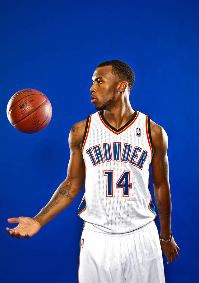 DAEQUAN COOK poses for a photo during the Oklahoma City Thunder media day on Monday, Sept. 27, 2010, in Oklahoma City, Okla.   Photo by Chris Landsberger, The Oklahoman