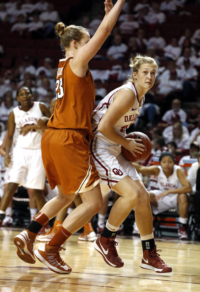 Oklahoma Sooners' Tara Dunn (43) takes a pass under the basket guarded by Gigi Mazionyte in the second half as the University of Oklahoma Sooners (OU) defeat the University of Texas (UT) Longhorns 69-56 in NCAA, women's college basketball at The Lloyd Noble Center on Saturday, Jan. 19, 2013 in Norman, Okla. Photo by Steve Sisney, The Oklahoman