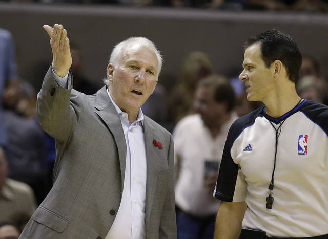 San Antonio Spurs coach Gregg Popovich, left, argues a call during the first quarter of an NBA basketball game against the Memphis Grizzlies, Saturday, Dec. 1, 2012, in San Antonio. (AP Photo/Eric Gay) ORG XMIT: TXEG103
