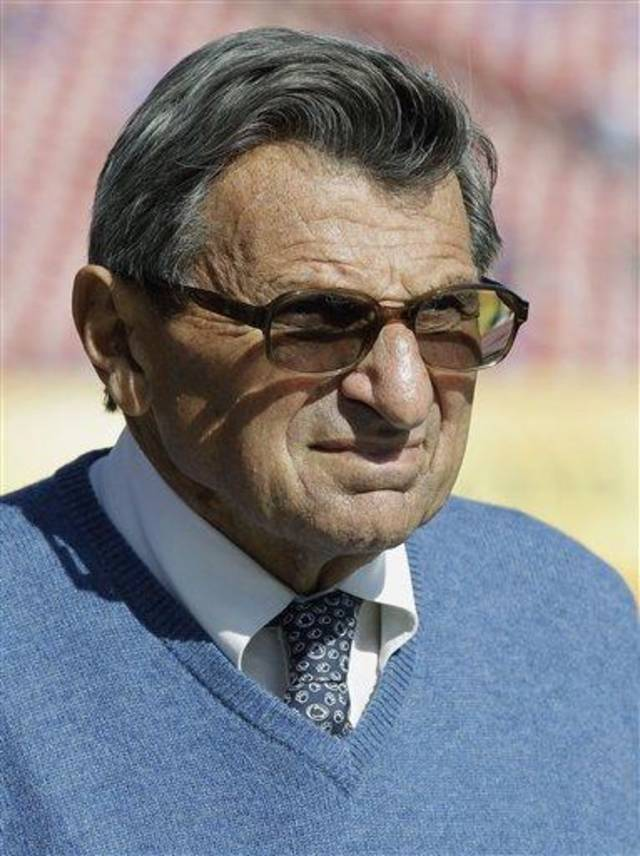 Penn State head coach Joe Paterno walks onto the field before the start of  the Outback Bowl NCAA college football game against Florida, Saturday, Jan. 1, 2011, in Tampa, Fla.  (AP Photo/Chris O'Meara)