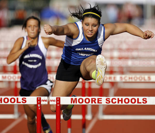 Plainview's C.J. Hornback competes in the girls 100 meter hurdles during the Meet of Champions track meet at Moore High School in Moore, Okla., Tuesday, May 15, 2012. Photo by Nate Billings, The Oklahoman