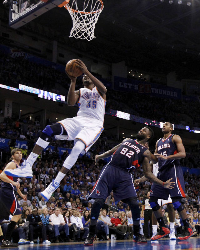 Kevin Durant (35) shoots as the Oklahoma City Thunder play the Atlanta Hawks in NBA basketball at the Chesapeake Energy Arena in Oklahoma City, on Sunday, Nov. 4, 2012.  Photo by Steve Sisney, The Oklahoman