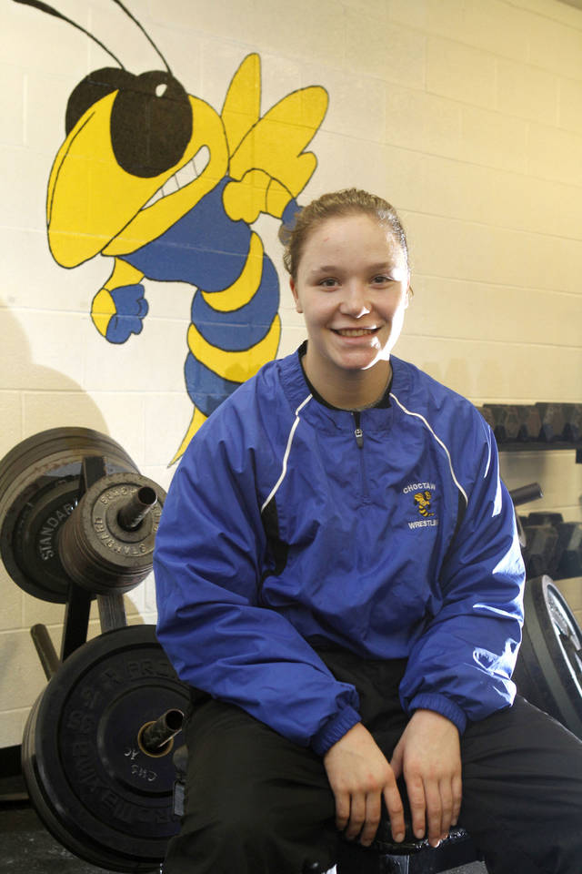 Choctaw wrestler Becca Leathers competes against boys in high school action, and has won six national championships in girls competition.  Photo By Paul Hellstern, The Oklahoman