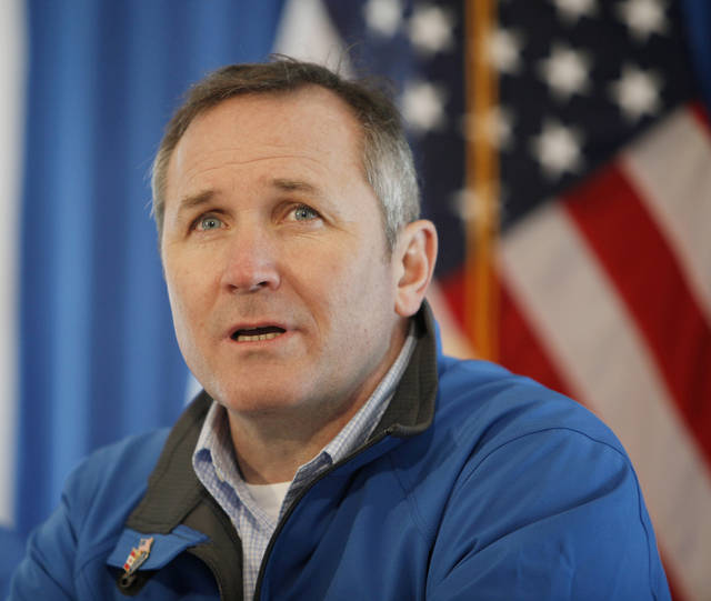 Robert Jones, vice president of the Keystone Pipeline project, answers questions from the media after President Obama spoke about energy at the TransCanada Pipe Yard near Cushing, Okla., Thursday, March 22, 2012. Photo by Nate Billings, The Oklahoman