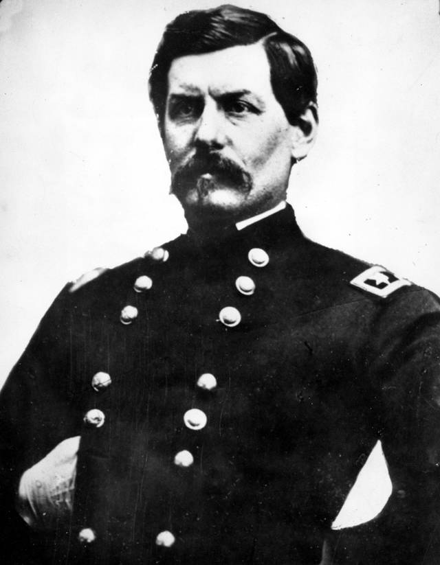 "This is an undated photo of Union Gen. George Brinton McClellan, posing with his gloved right hand tucked inside his waistcoat. Author William B. Styple's latest book, ""McClellan's Other Story"", focuses on the role of a Cincinnati politician as adviser to Gen. McClellan, who ran against Abraham Lincoln for president in 1864. Long before Mitt Romney and Barack Obama wrestled over Ohio, it was a political battleground state for Lincoln. (AP Photo/Mathew B. Brady)"