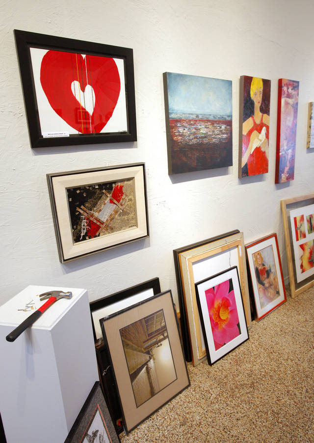 "Artworks being collected at Paseo Art Space in Oklahoma City Wednesday, Jan. 25, 2012, to be judged for selection into the annual Paseo Art Association Member Juried Art Competition and Exhibition to benefit the Oklahoma Heart Hospital in Oklahoma City. The Oklahoma Heart Hospital will kickoff ""The Heart of Paseo: The Art of Heart"" Feb. 3, 2012. Photo by Paul B. Southerland, The Oklahoman"