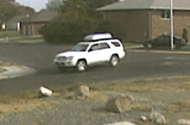This image from video provided by the FBI Friday, Oct. 12, 2012, shows a vehicle that authorities believe is involved in the abduction and sexual assault of a girl in Cody, Wyo., earlier in the week. The FBI said Thursday that based on witness statements and video footage from cameras in Cody, the SUV is believed to be a 2004 or 2005 white, 4-door Toyota SR-5 4-Runner, with a removable rooftop cargo box that's silver on top and black underneath. (AP Photo/FBI) Cody police have said a man lured an 11-year-old girl into his SUV Monday by claiming he needed help finding a missing puppy. The man threatened the girl with a pistol and sexually assaulted her before releasing her.