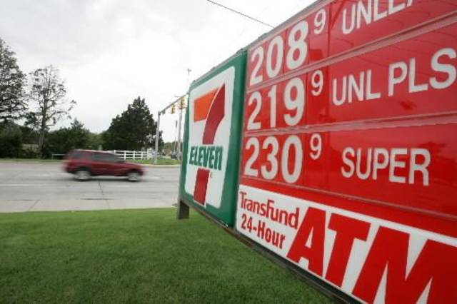 Gas  price sign at 7 Eleven at 165th and North Western  Oklahoma City,  Oklahoma September 24, 2009. Photo by Steve Gooch