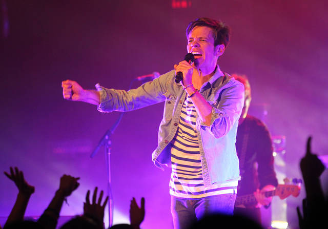 "In this March 1, 2012 photo, fun. lead singer Nate Ruess performs at Lupo's Heartbreak Hotel in Providence, R.I. Their single ""We Are Young (feat. Janelle Monae),"" is iTunes' Official Music Charts for the week ending March 19, 2012. (AP Photo/Stew Milne, file)"