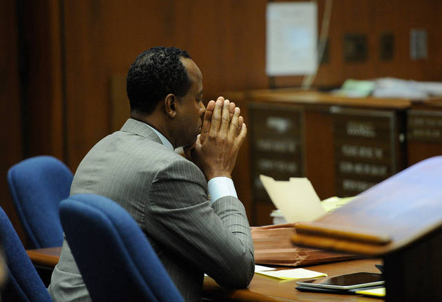 Dr. Conrad Murray looks on during the final stage of Conrad Murray's defense in his involuntary manslaughter trial in the death of singer Michael Jackson at the Los Angeles Superior Court on Tuesday, Nov. 1, 2011 in Los Angeles. Dr. Murray decided not to testify for his defense. Murray has pleaded not guilty and faces four years in prison and the loss of his medical licenses if convicted of involuntary manslaughter in Jackson's death. (AP Photo/Kevork Djansezian, Pool)
