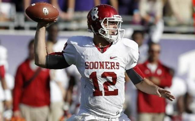 Oklahoma's Landry Jones (12) throws a pass during a college football game between the University of Oklahoma Sooners (OU) and the Texas Christian University Horned Frogs (TCU) at Amon G. Carter Stadium in Fort Worth, Texas, Saturday, Dec. 1, 2012. Oklahoma won 24-17. Photo by Bryan Terry, The Oklahoman