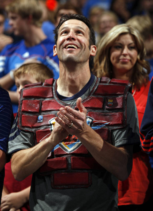 Thunder �super fan� Derrick Seys, who is known as �Brick Man,� applauds at the start of the game as the Oklahoma City Thunder play the Atlanta Hawks in NBA basketball at the Chesapeake Energy Arena in Oklahoma City, on Sunday, Nov. 4, 2012.  Photo by Steve Sisney, The Oklahoman