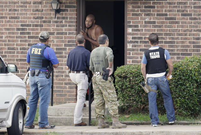 Left: Agents with the Edmond Police Department, FBI, DEA, and the Oklahoma Highway Patrol go door-to-door asking questions.