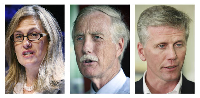 FILE - These 2012 file photos show Maine candidates for U.S. Senate in the November 2012 general election, Democrat Cynthia Dill, left, Independent Angus King, center, and Republican Charlie Summers. (AP Photo/File)