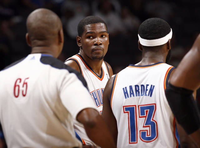 Oklahoma City's Kevin Durant and James Harden argue a call during the NBA game between the Oklahoma City Thunder and the Boston Celtics, Sunday, Nov. 7, 2010, at the Oklahoma City Arena. Photo by Sarah Phipps, The Oklahoman