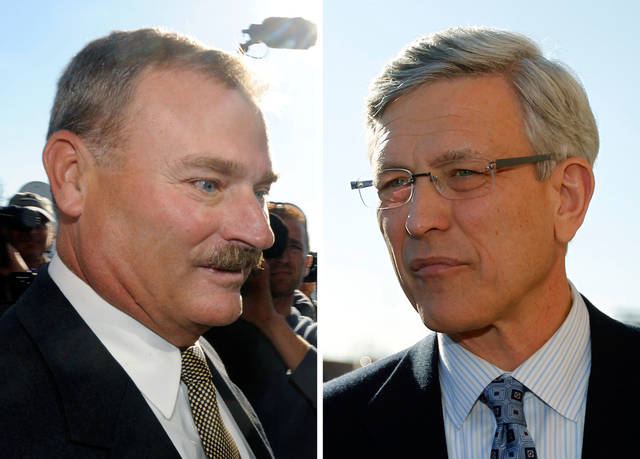 FILE - In these Nov. 7, 2011 file photos, former Penn State vice president Gary Schultz, left, and former athletic director Tim Curley, right, enter a district judge's office for an arraignment in Harrisburg, Pa., for their actions related to the sex abuse scandal surrounding former Penn State assistant football coach Jerry Sandusky. Despite Sandusky's delay requests, it now appears his case will get under way Tuesday, June 5, 2012, with selection of jurors from among neighbors in the area around Penn State, a location that before November could be called Happy Valley without a hint of irony or bitterness. (AP Photo/Brad Bower, left, Matt Rourke, right, File)