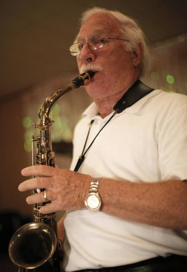 Milo Shedeck plays saxophone with the Milo Schedeck band at Czech Hall in Yukon, Okla., Saturday, Sept. 29, 2012.  Photo by Garett Fisbeck, The Oklahoman