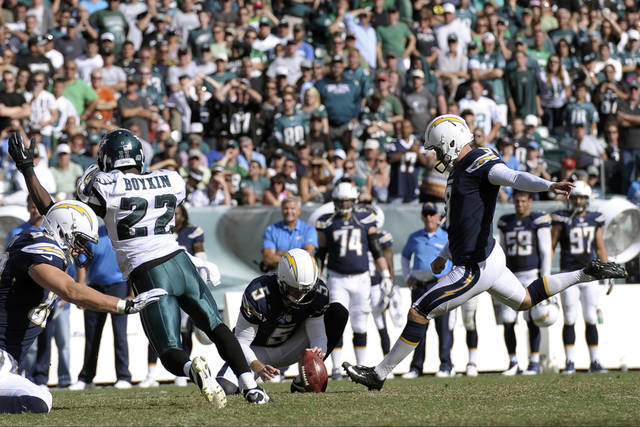 San Diego Chargers' Nick Novak kick the go-ahead field goal during the second half of an NFL football game against the Philadelphia Eagles, Sunday, Sept. 15, 2013, in Philadelphia. San Diego won 33-30. (AP Photo/Michael Perez)